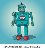 vintage toy robot. hand drawn... | Shutterstock .eps vector #217696159