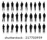 Silhouettes of Business People in a Row