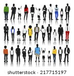 silhouettes of casual people in ...