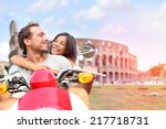 italy rome couple on scooter by ... | Shutterstock . vector #217718731