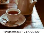 the relaxing time of tea break. | Shutterstock . vector #217720429