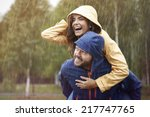 happy time despite bad weather | Shutterstock . vector #217747765