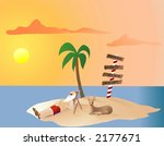 santa relaxing on the north... | Shutterstock .eps vector #2177671