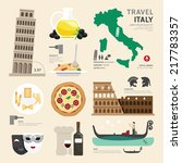 italy flat icons design travel... | Shutterstock .eps vector #217783357
