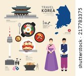 korea flat icons design travel... | Shutterstock .eps vector #217783375