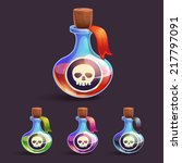 cartoon bottles with poison and ...