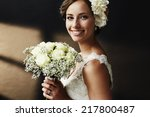 stunning young bride holding... | Shutterstock . vector #217800487