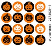 halloween icon set of cheerful... | Shutterstock .eps vector #217803949