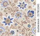 seamless floral pattern. vector ... | Shutterstock .eps vector #217811341