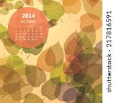 Monthly Calendar 2014  October...