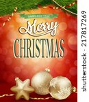 christmas background with gold... | Shutterstock .eps vector #217817269