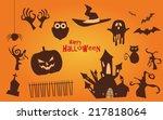 halloween vector icons set ... | Shutterstock .eps vector #217818064