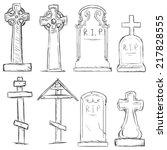 vector set of sketch cemetery... | Shutterstock .eps vector #217828555