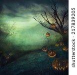 halloween design   graveyard... | Shutterstock . vector #217839205