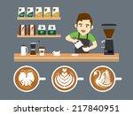 barista pouring latte art | Shutterstock .eps vector #217840951
