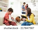 children playing with dog on... | Shutterstock . vector #217847587
