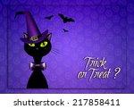 black cat for happy halloween | Shutterstock . vector #217858411