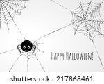 cute spider and webs over gray... | Shutterstock .eps vector #217868461