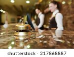 Stock photo modern luxury hotel reception counter desk with bell 217868887