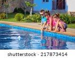 three beautiful children run a... | Shutterstock . vector #217873414