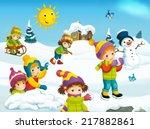 winter cartoon illustration for ... | Shutterstock . vector #217882861