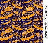 halloween grunge vector pattern ... | Shutterstock .eps vector #217883761