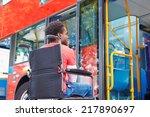 disabled man in wheelchair... | Shutterstock . vector #217890697
