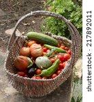 A Vegetable Basket In A Garden