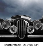 vintage classic car front view... | Shutterstock . vector #217901434