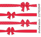 set of sketch red bows with... | Shutterstock .eps vector #217902049