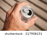 aluminum can of beer in a male... | Shutterstock . vector #217908151