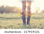 creative bouquet in boots | Shutterstock . vector #217919131