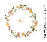 watercolor autumn frame. wreath ... | Shutterstock .eps vector #217926271