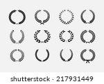set of wreaths  wheat circular... | Shutterstock .eps vector #217931449