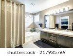 bathroom interior in light grey ...   Shutterstock . vector #217935769