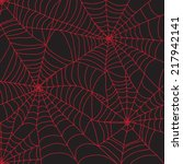 red spider web for halloween | Shutterstock .eps vector #217942141