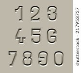 vector stone carved font numbers | Shutterstock .eps vector #217953727