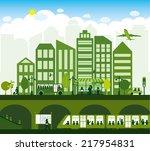 green alternative energy city | Shutterstock .eps vector #217954831