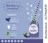 blackberry smoothie recipe.... | Shutterstock .eps vector #217966939