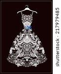 white wedding dress | Shutterstock .eps vector #217979485