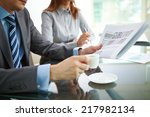businessman reading newspaper... | Shutterstock . vector #217982134