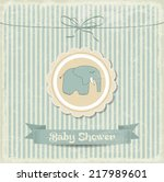 Retro Baby Shower Card With...