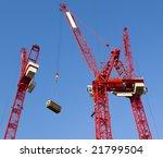 red construction cranes   Shutterstock . vector #21799504
