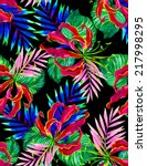 seamless dark jungle floral... | Shutterstock . vector #217998295