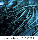 close up of a twisted barb wire | Shutterstock . vector #217999651
