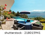 nice terrace with swimming pool ... | Shutterstock . vector #218015941