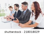 business team all sitting... | Shutterstock . vector #218018029