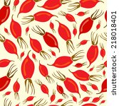 seamless pattern with rosehip... | Shutterstock .eps vector #218018401