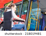 disabled woman in wheelchair... | Shutterstock . vector #218019481