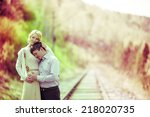 young loving couple having a... | Shutterstock . vector #218020735